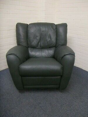 Dark Green Leather Swivel Recliner Armchair