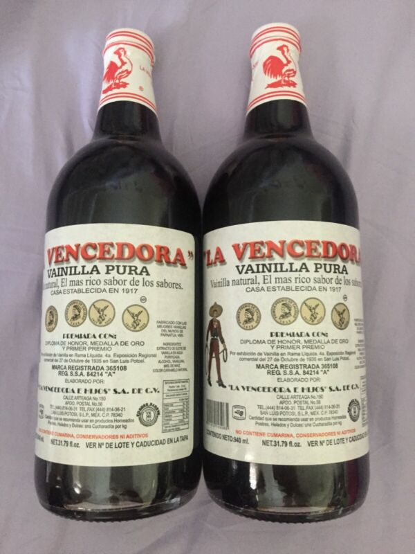 La Vencedora (Red Rooster) Mexican Vanilla 2 x 1 Liter Bottles - Free Shipping