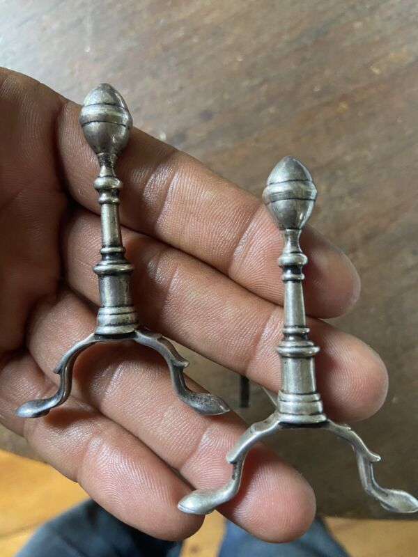ANTIQUE MINATURE STERLING DOLLHOUSE ANDIRONS