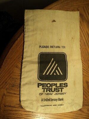 Vintage Peoples Trust Of New Jersey  A United Jersey Bank Cloth Bag 17  Tall