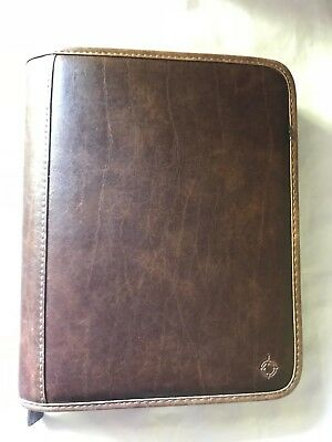 Franklin Covey Thick Binder Organizer Planner Full Zip Distressed Brown Pvc Lknw