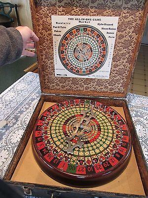 ORIGINAL 1930's ALL IN ONE GAME MAHOGANY SPEAKEASY GAME WHEEL - SLOT MACHINE
