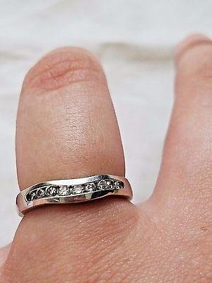 Vintage 14K White Gold Size 7 1/4 Diamond Wedding Band Ring, Estate Jewelry