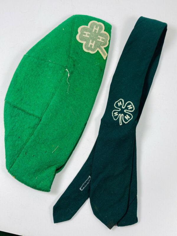 Vintage 4-H wool felt hat & tie NICE girl scouts brownies