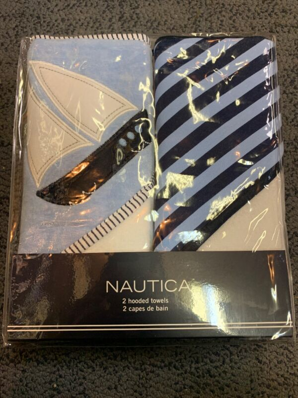 """Nautica 2 Hooded Towels Baby Blue 26""""x30"""" Brand New"""