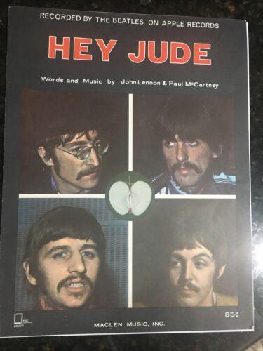 VINTAGE HEY JUDE THE BEATLES SHEET MUSIC 1968 MACLEAN MUSIC APPLE RECORDS - $24.99