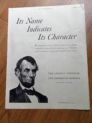1952 Lincoln National Life Insurance Ad Its Name Indicates Its Character Abraham