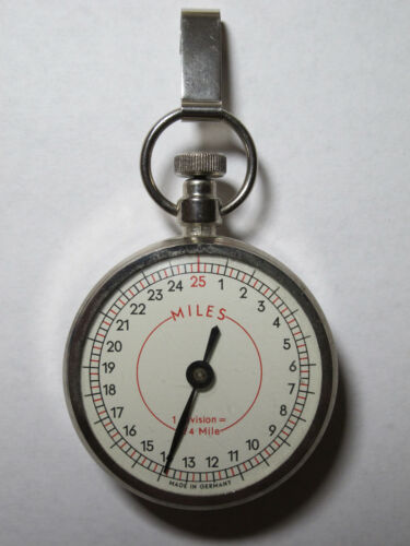 Vintage Metal Mechanical Pedometer (25 Miles), Made in Germany -Collectible Nice
