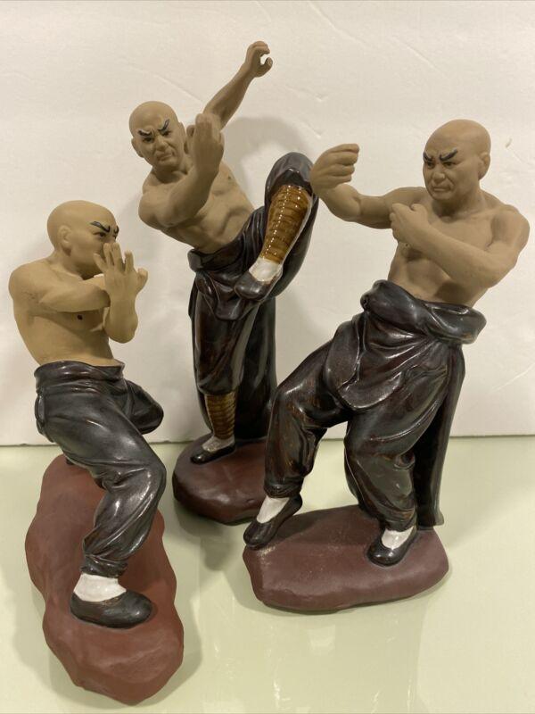 Lot of 3 CHINESE KUNG FU SHAOLIN MONK MUDMAN KUNG FU MARTIAL ARTS FIGURINES