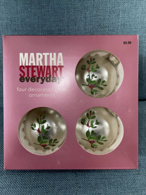 Vintage 2002 Martha Stewart 4 Pearlized Silver Paint Decorated Glass Ornaments