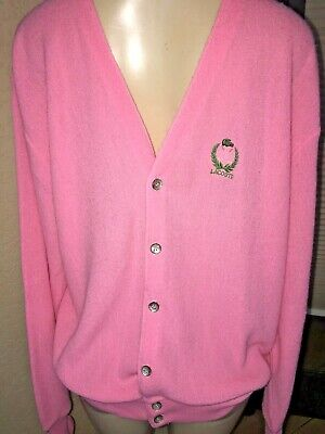 VTG  IZOD GOLF  LACOSTE Cardigan Knitted Sweater HOT Pink LARGE  MADE IN USA