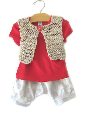 3 Piece Handmade Vest (NEW KSS Handmade 3 Piece Set Baby Sweater Vest, T-shirt & Shorts 6 Months SW-389 )