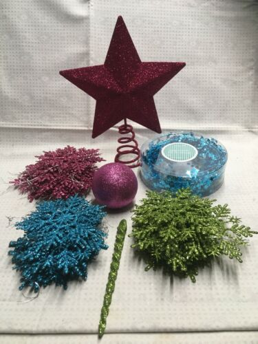 CHristmas Tree Ornaments and Star- Glitter