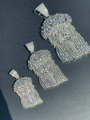 Real Mens Solid 925 Sterling Silver Jesus Piece Flooded Out Pendant Really Iced ()