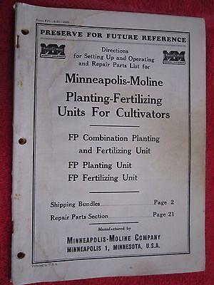 Minneapolis Moline Fp Cultivator Planting Units Operators Parts Catalog Manual