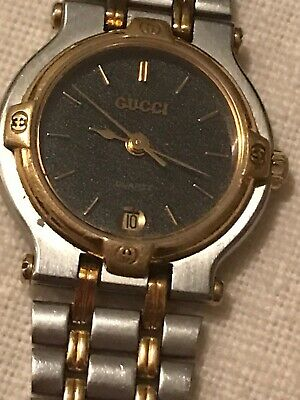 Vintage ladies quartz Gucci 9000L two tone gold & silver stainless steel watch