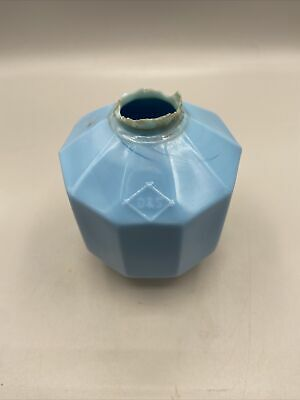 "Vintage D&S 10 Sided Blue Milk Glass Lightning Rod Ball 5.5"" Good Condition"