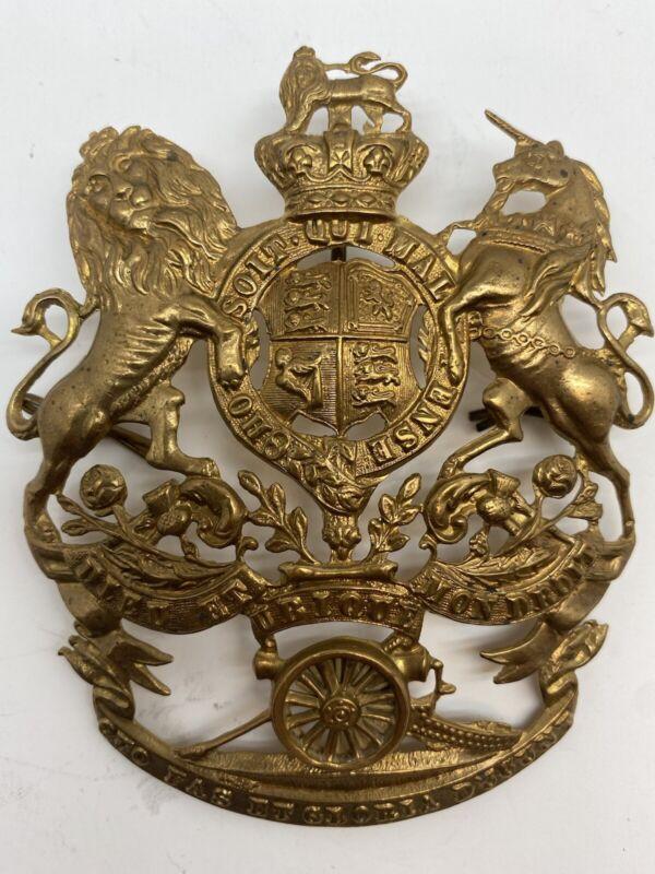 Boer War (1899-1902) British Army Royal Artillery QVC Cast Brass Helmet Plate