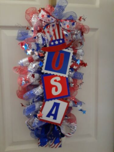 Patriotic Holiday Deco Mesh Homemade Small NEW sparkles USA door swag