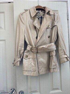 WOMENS BURBERRY LONDON BEIGE DOUBLE BREASTED BELTED TRENCH COAT UK12