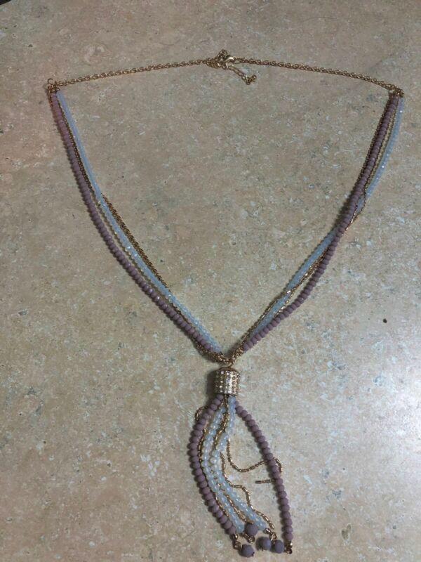 Simply Noelle Tassel Necklace (Purple & Light Blue/Clear Beads)