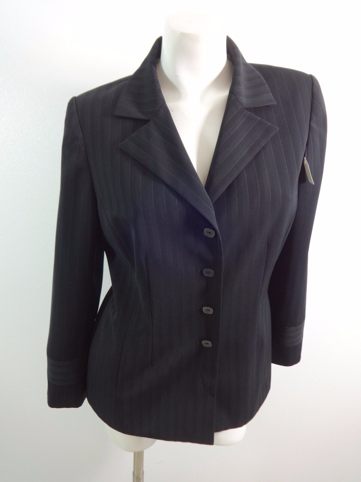 LIZ CLAIBORNE Tweed Jacket Womens Luxurious Black Colorful Business Blazer Coat