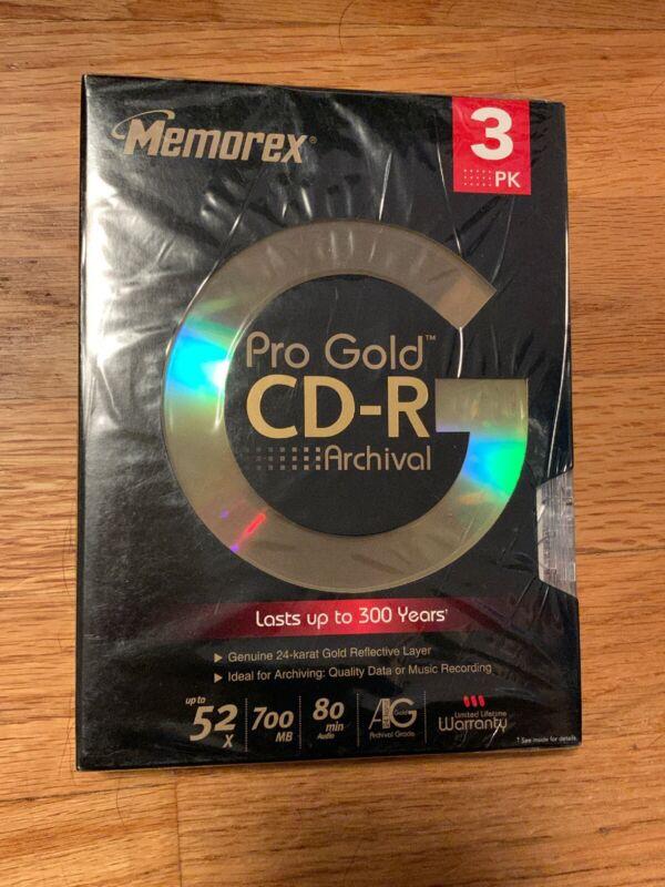 New Sealed Memorex Pro Archival 24 Kt Gold CD-R 80 Min 3-Pack 300 Year (SH25)