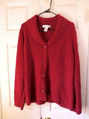 Cardigan Sweater Size XL 16 collar w Red velvet buttons Jones New York Sport