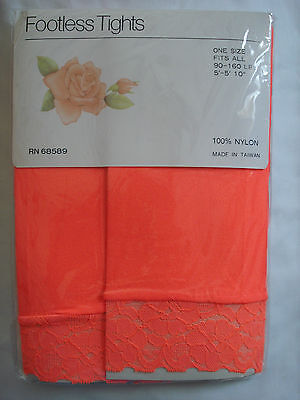Brand New Footless Lace Tights Orange, Red and Pink-One Size Fits All 90-160 LBS (Orange And Red Tights)