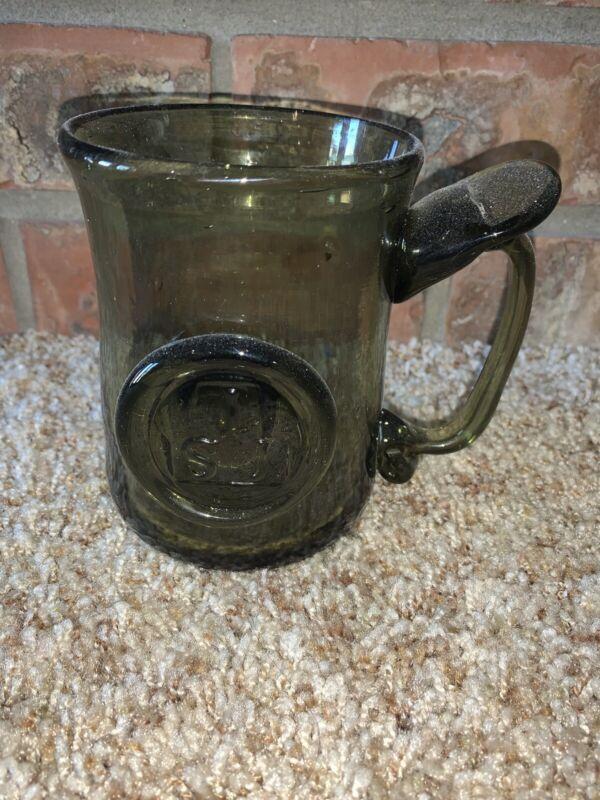 Colonial Jamestown Reproduction Blown Olive Green Glass Stein Mug JSJ Souvenir