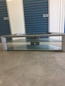 Beautiful silver and glass tv stand (free delivery)