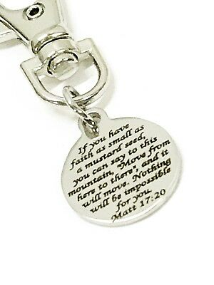 Christian Gifts, Mustard Seed Verse Zipper Pull, Matthew 17 20 Charm, Bag Charm