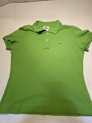 Women's Lacoste Size 42 Green Cotton Stretch Polo Shirt