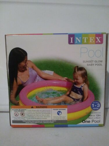 """INTEX SUNSET GLOW BABY POOL 34"""" X 10""""   Ages 1-3 Inflata"""