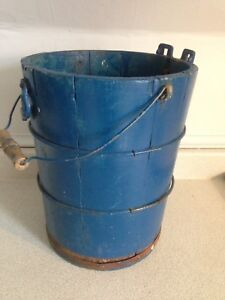 Vintage White Mountain Freezer Wooden Barrel Bucket