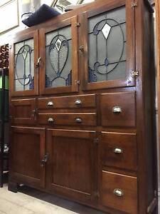 Antique OAK Leadlight Meat Safe Cupboard Kitchen Dresser Cabinet Queenstown Port Adelaide Area Preview