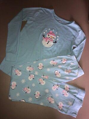 Girls Christmas Pajamas Size 12 (GYMBOREE Girls Size 12 Snowman Pajamas Pjs Christmas Holiday 2piece Set)