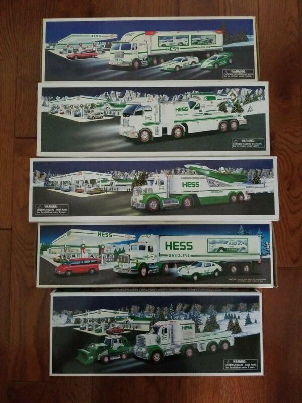 Lot of 5 Hess Trucks 1992 1997 2006 2010 2013. In Original Boxes.