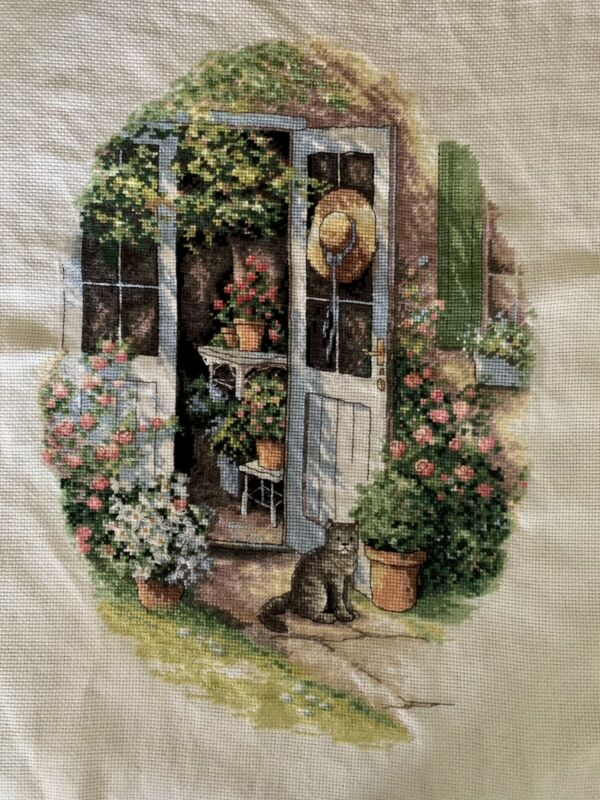 Garden Door completed cross stitch Picture