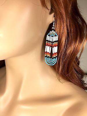 BLUE WHITE RED SEED BEADED NATIVE AMERICAN INSPIRED HANDMADE EARRINGS E23/1