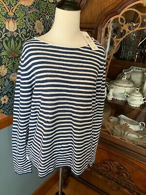 Eileen Fisher Blue White Striped Lightweight Bateau Neck Sweater NWT XL $168