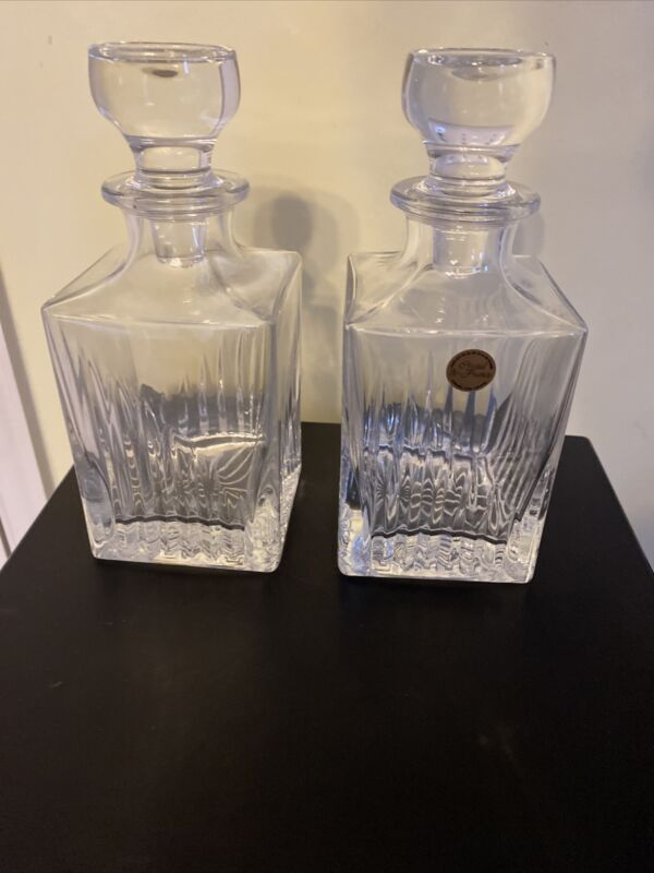 Pair of Cristal de France Crystal Decanter w/ Crystal Stopper Made In France