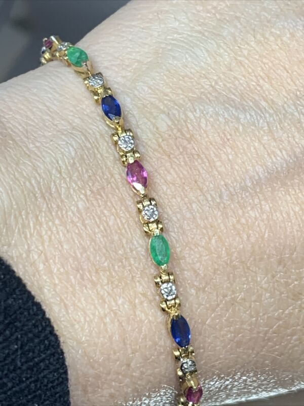 14k Yellow Gold Bracelet Natural Emerald Ruby Sapphire Diamond 7 Grams Marquis