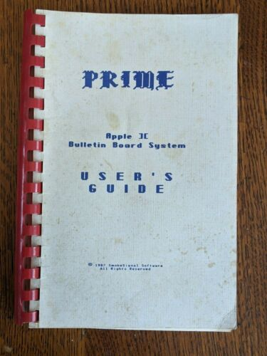 Rare - Apple Prime BBS Bulletin Board System Users Guide Smoke Signal Software