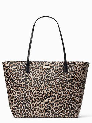 KATE SPADE Shore Street Leopard Margareta Tote Bag Purse WKRU5355
