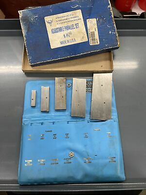 Priducts Engineering Corp 6pc Adjustable Parallel Set Machinist Made In Usa