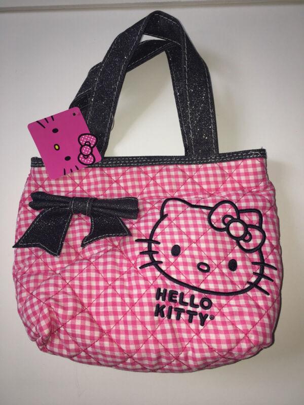 Hello Kitty Sanrio Bow Pink Jean Plaid Small Carry Handles Bag Purse Cute Rare