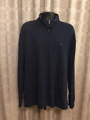 TOMMY HILFIGER 1/4 Zip Pullover Mens Sz XXL Sweater Solid Navy Blue Preowned