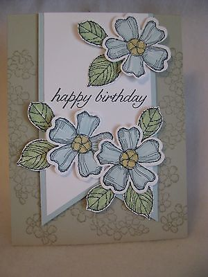 Stampin' Up! HAPPY BIRTHDAY 3 BLUE FLOWERS 3D Layered Card Kit - 2 Cards