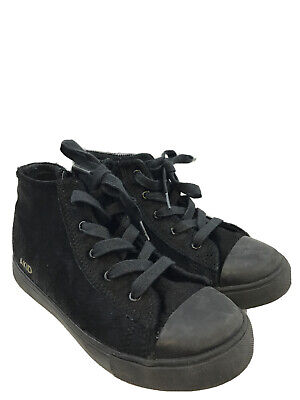 AKID Youth Black Textured Lace Up & Side Zip High Top Sneakers Sz 2Y